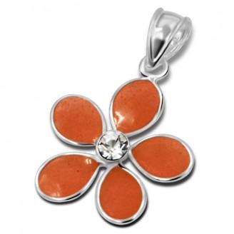 """Dětský stříbrný přívěsek s jedním krystalem """"Květina - oranžová"""". Ag 925/1000"""